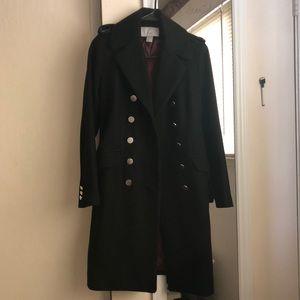 Black Wool Pea Coat Military Style Details